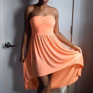 Orange high to low dress